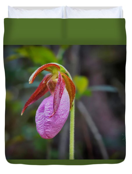 Lady Slipper Orchid Duvet Cover
