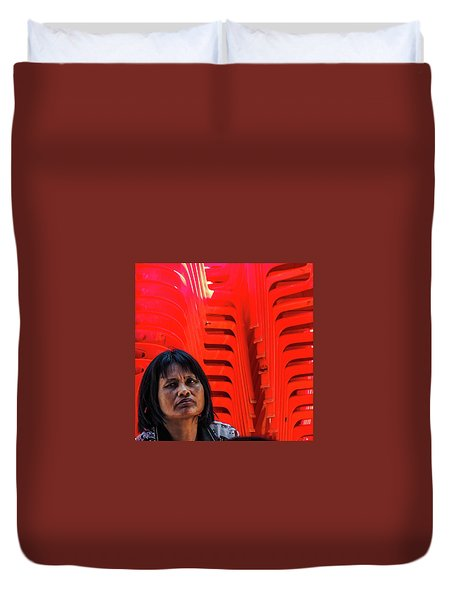 Lady With Red Chairs Duvet Cover
