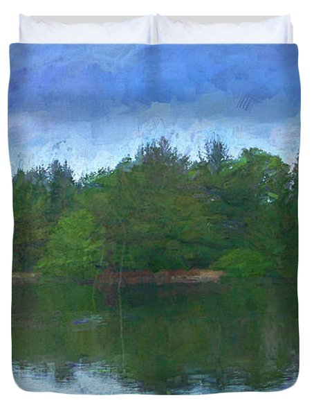 Lake And Trees Duvet Cover