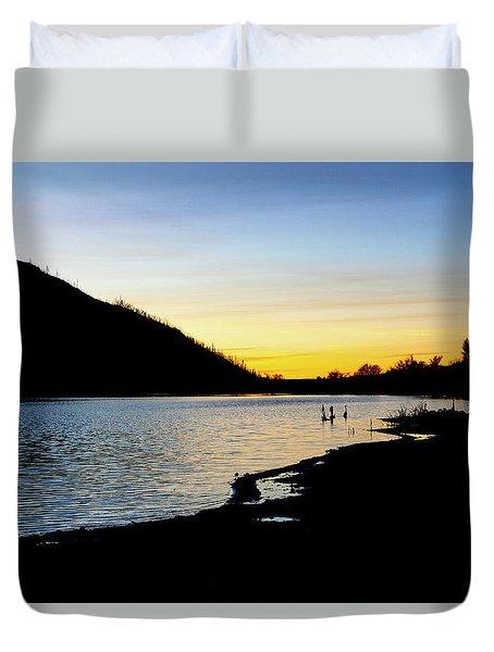 Lake Cuyamaca Sunset Duvet Cover