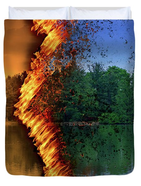 Lake Forest Fire Duvet Cover