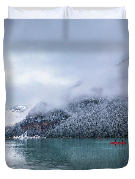 Lake Louise Canoeing Duvet Cover