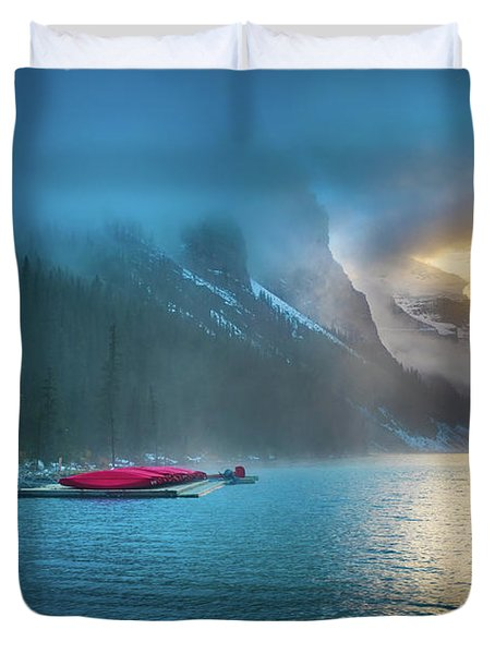 Lake Louise Canoes In The Morning Duvet Cover
