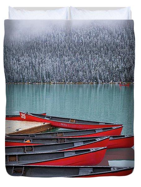 Lake Louise Canoes Duvet Cover