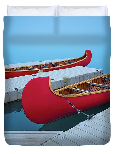 Lake Louise Two Canoes Duvet Cover