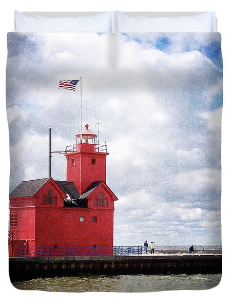 Lake Michigan Light House Duvet Cover