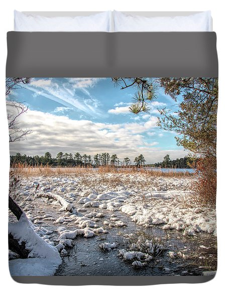 Duvet Cover featuring the photograph Lake Oswego After The Snow  by Kristia Adams