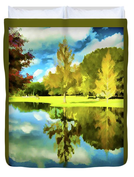 Lake Reflection - Faux Painted Duvet Cover