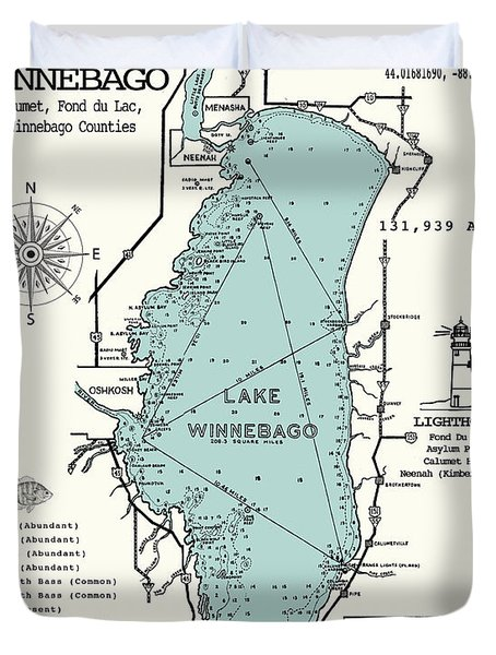 Lake Winnebago Wisconsin Map  Duvet Cover
