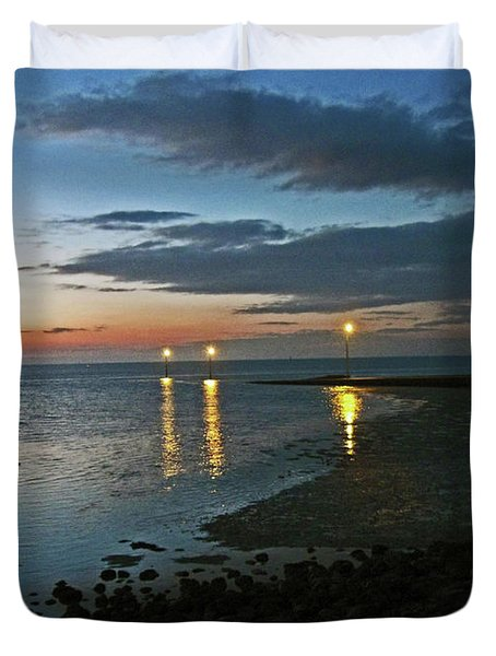 Lancashire. Knott End. Sunset.. Duvet Cover