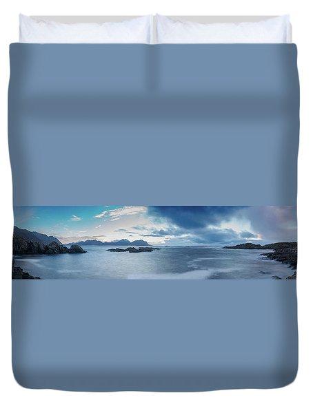 Landscape In The Lofoten Islands Duvet Cover