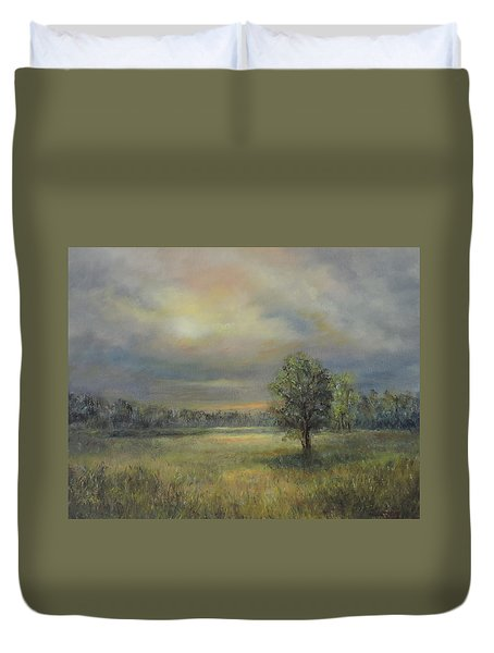 Landscape Of A Meadow With Sun And Trees Duvet Cover