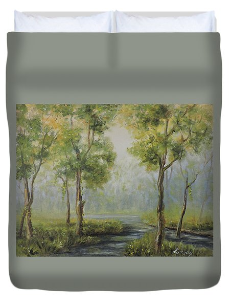 Landscape Of The Great Swamp Of New Jersey With Pond Duvet Cover
