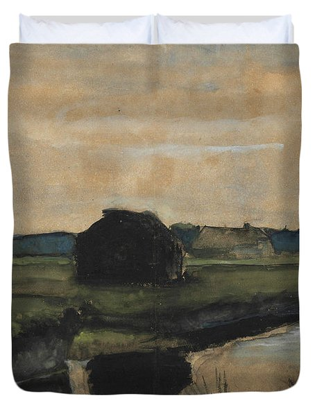 Landscape With A Stack Of Peat And Farmhouses Duvet Cover