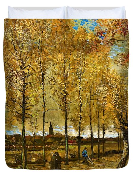 Lane With Poplars Near Nuenen - Digital Remastered Edition Duvet Cover