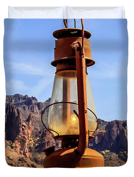 Lantern Over Superstitions Duvet Cover