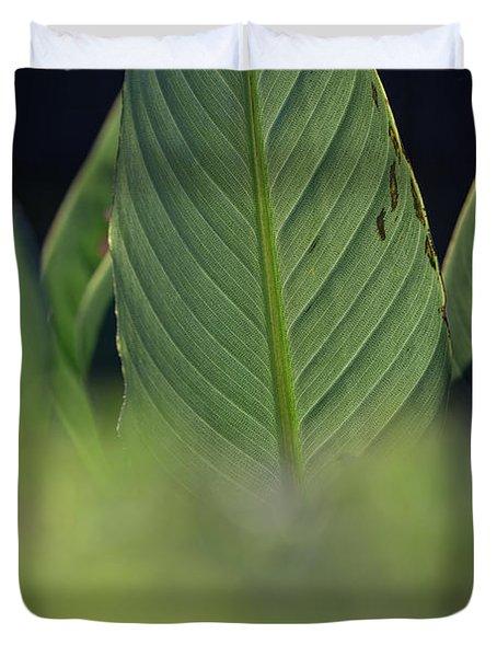 Large Dark Green Leaves Duvet Cover
