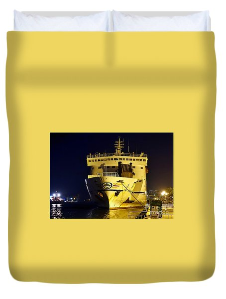 Large Ferry Docked In Port By Night Duvet Cover