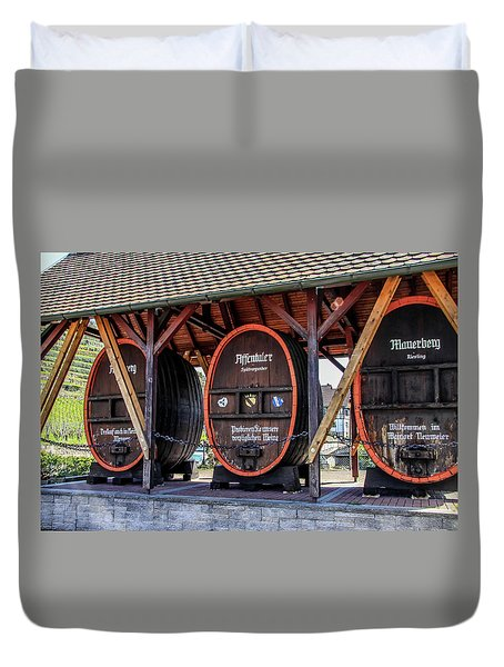 Duvet Cover featuring the photograph Large Wine Casks by Dawn Richards
