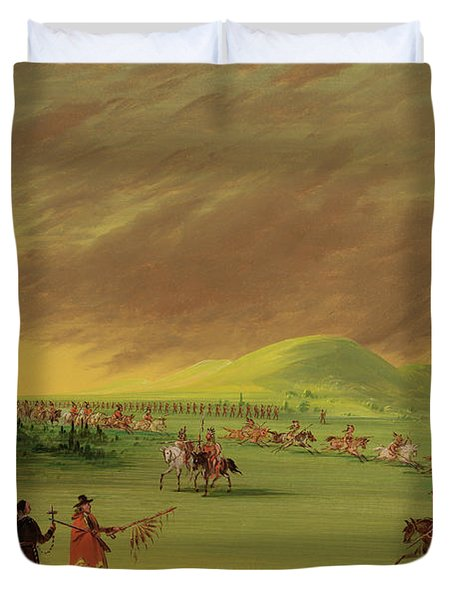 Lasalle Meets On The Prairie Of Texas, A War Party Of Cenis Indians, April 25th, 1686. Duvet Cover