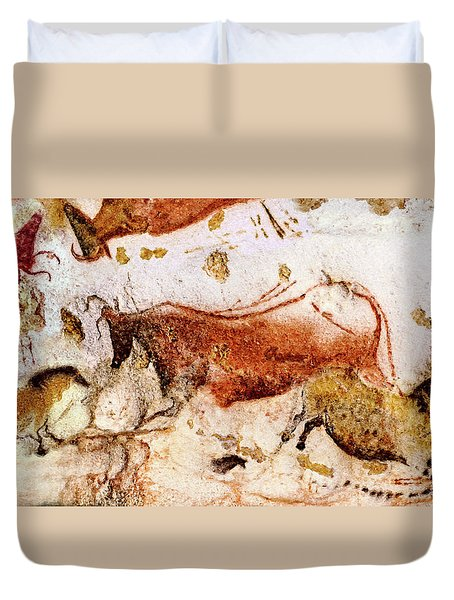 Lascaux Cow And Horses Duvet Cover