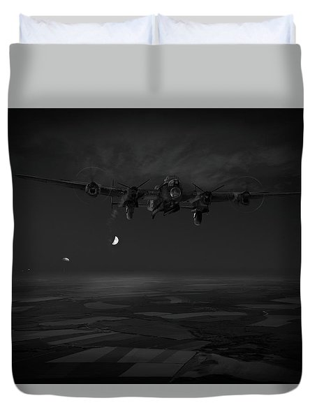 Duvet Cover featuring the photograph Last Man Out Bw Version by Gary Eason