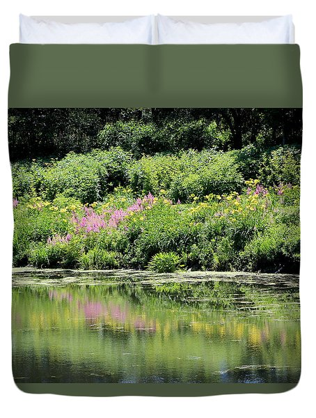 Lavender And Gold Reflections At Chicago Botanical Gardens Duvet Cover