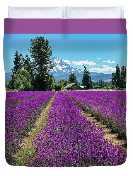 Duvet Cover featuring the photograph Lavender Valley Farm by Robert Bellomy