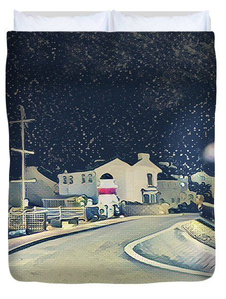 Laxey New Bridge On A Winter's Night Duvet Cover