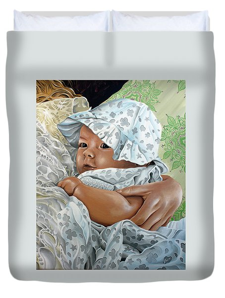 Duvet Cover featuring the painting Layla by William Love