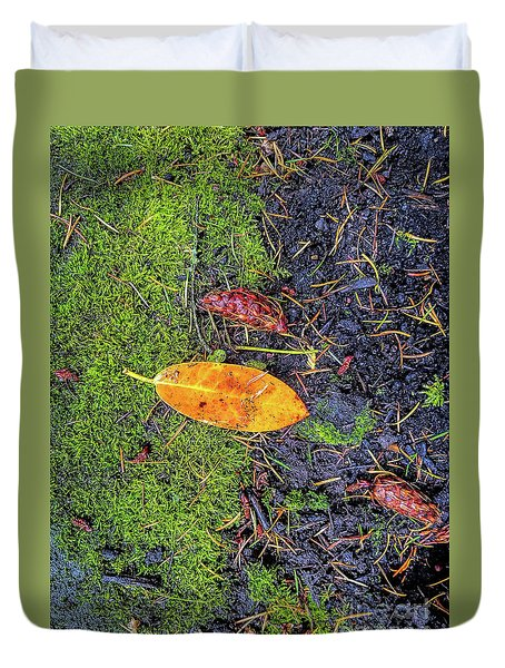 Duvet Cover featuring the photograph Leaf And Mossy by Jon Burch Photography