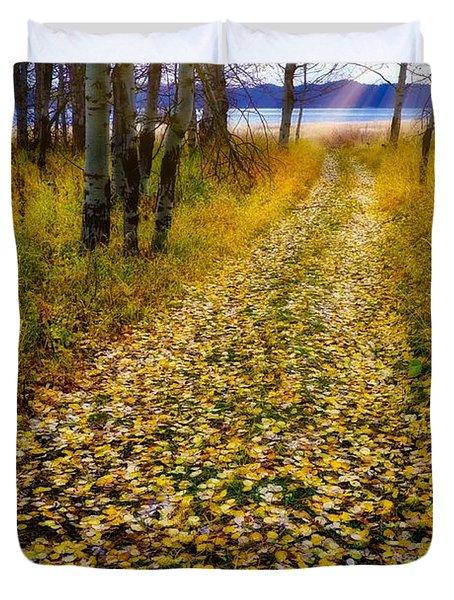 Leaves On Trail Duvet Cover