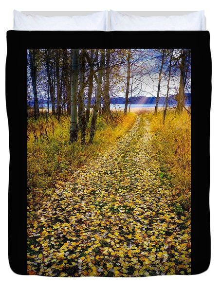 Leaves On Trail Duvet Cover