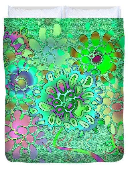 Duvet Cover featuring the digital art Leaves Remix One by Vitaly Mishurovsky