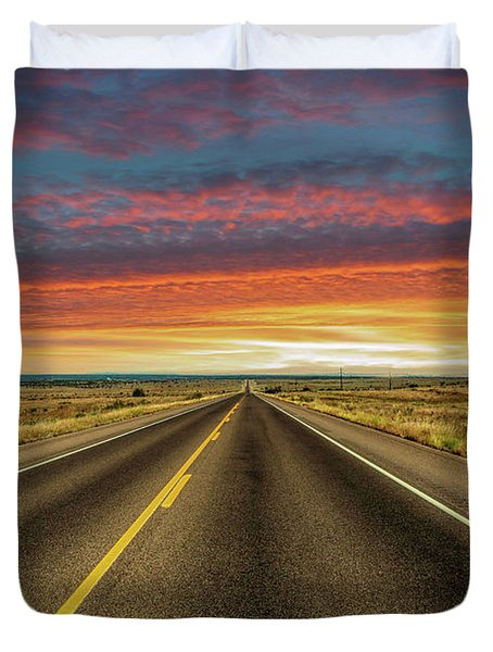 Leaving Lubbock Vanishing Point Duvet Cover