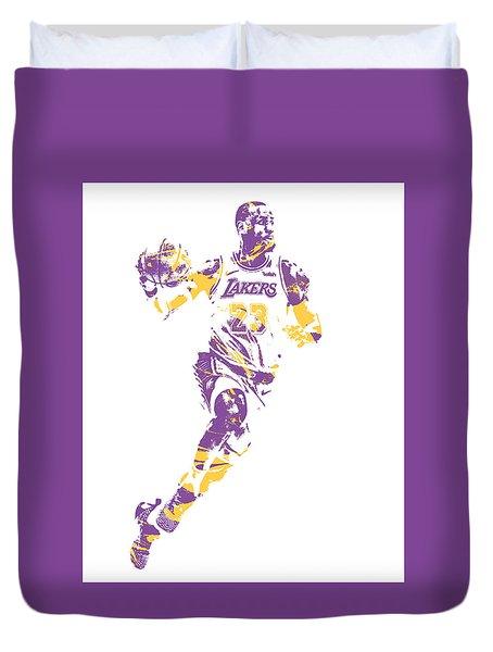Lebron James Los Angeles Lakers Pixel Art 2 Duvet Cover