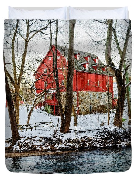Lee's Merchant Mill With Snow Duvet Cover