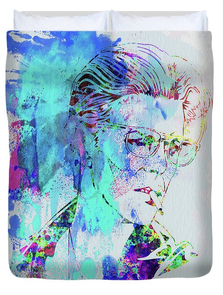 Legendary David Bowie Watercolor Duvet Cover