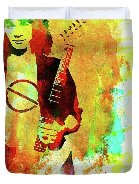 Legendary Eddie Van Halen Watercolor Duvet Cover