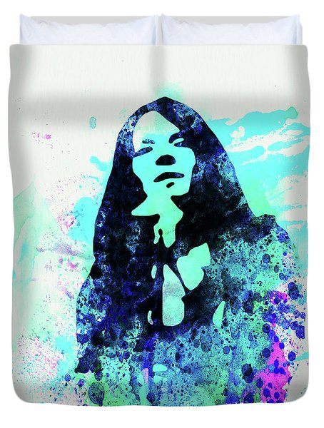 Legendary Janis Joplin Watercolor II Duvet Cover