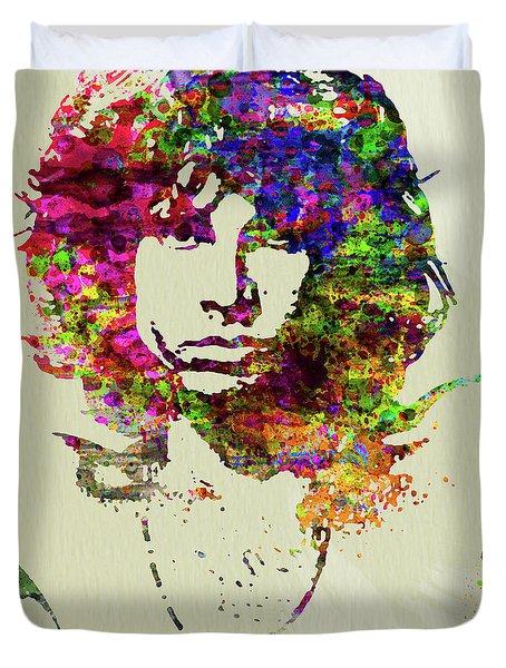 Legendary Jim Morrison Watercolor Duvet Cover