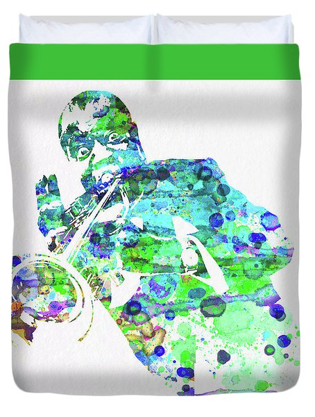 Legendary Louis Armstrong Watercolor  Duvet Cover