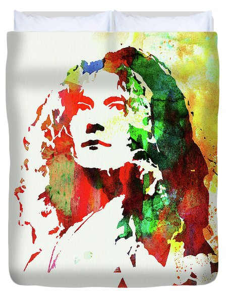 Legendary Robert Plant Watercolor Duvet Cover