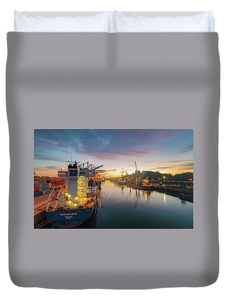Duvet Cover featuring the photograph Leixoes Harbour by Bruno Rosa