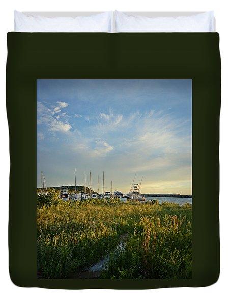 Leland Harbor At Sunset Duvet Cover