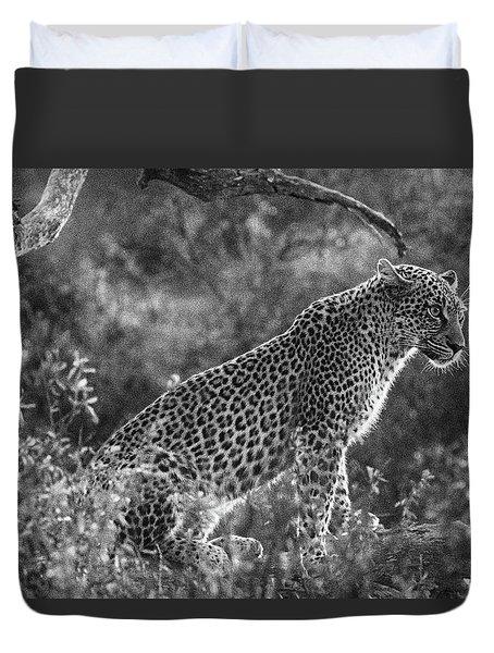 Leopard Sitting Black And White Duvet Cover