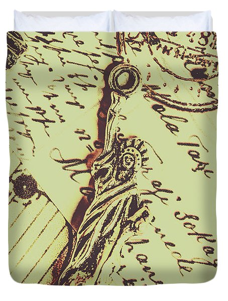Letters Of Liberty Duvet Cover