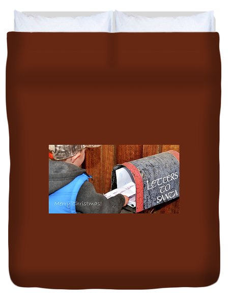 Duvet Cover featuring the photograph Letters To Santa With Greeting by Jerry Sodorff