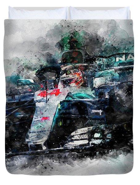 Lewis Hamilton, Mercedes Amg F1 W09 - 10 Duvet Cover