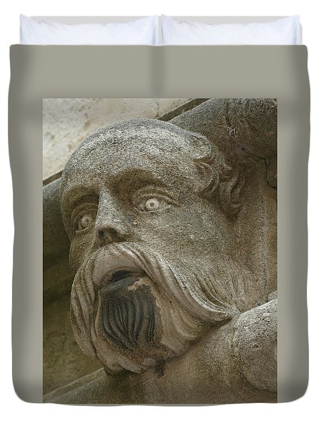 Life Sized Sculptures Of Human Heads Duvet Cover
